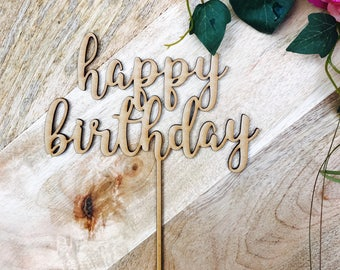 CLEARANCE 1 ONLY in Timber Happy Birthday Cake Topper Birthday Cake Topper Cake Decoration Cake Decorating Happy Birthday Cursive Topper SPM