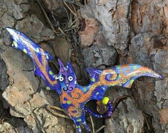 10 bat 442 // lucite acrylic pin, lucite acrylic brooch, mini sculpture, lasercut, acrylic painting, pop art, fan art, lowbrow