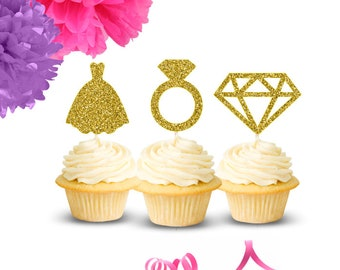 Bridal Shower Cupcake Toppers (Set of 12), Cupcake Toppers, Engagement Party, Bridal Shower, Bachelorette Party, Wedding Cupcake Toppers