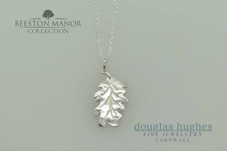 Oak leaf pendantcharm solid silver handmade by douglas hughes aloadofball Choice Image