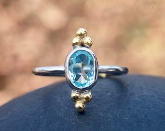 Blue topaz ring, gemstone ring , december birthstone ring , blue gemstone , triple dots , engagement  ring , stacking ring , gift for her