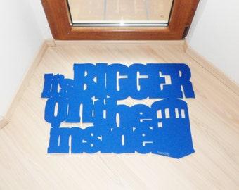 Dr. Who door mat. It's bigger on the inside floor mat, with Tardis police call box. Custom doormat. Exclusive design.