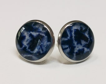 Silver toned stainless steel stud earrings with indigo and white shibori kimono fabric