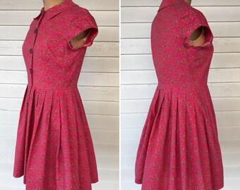 1950s Cotton Shirt Dress With Floral Umbrella Print