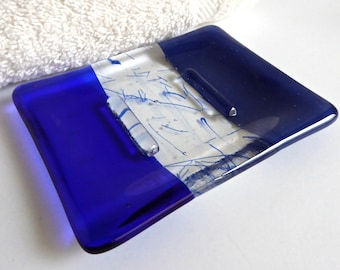 Fused Glass Soap Dish in Dark Cobalt and Royal Blue by BPRDesigns