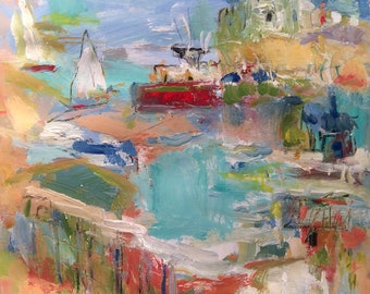 Seascape Painting, Seaport, harbor and cove, sailboats and ocean, original expressionist art, Russ Potak