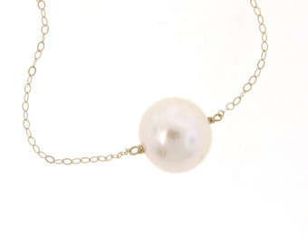 Single Pearl Necklace, Pearl Solitaire 14K Gold, 10mm Solitaire Pearl in 14K Yellow Gold, Gold Filled, or Sterling Silver