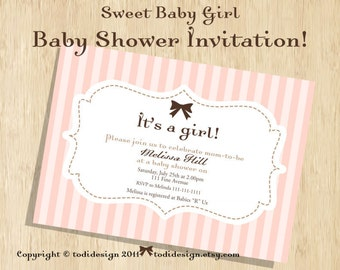 Baby Shower Party Invitation - Sweet Baby Girl - Printable digital file