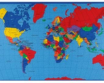 World map fabric etsy novelty cotton fabric world map panel gumiabroncs Choice Image