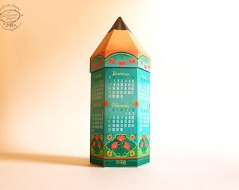 2018 DIY Printable Pencil Calendar & Box | Colorful Blue Floral | Paper Desk Calender Papercraft | School Kid Children | Instant download