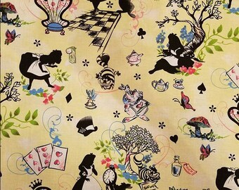 Rare Hoffman 2008 Alice in Wonderland cotton fabric 1 yard yellow