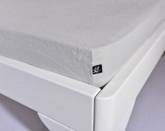 Linen Fitted Sheet 100% Organic Flax Stonewashed Soft Bedding Sheet Non Slip Mattress Cover LifeInLinenStudio Comfortable Flax Linen Bedding