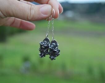 nature lover earrings - cast sterling silver succulent garden earrings