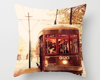 new orleans art, throw pillow covers, decorative pillow cover, new orleans photography print, street car st charles line, living room decor