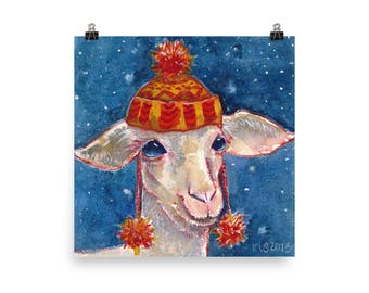 Wool - Cute Lamb Watercolor Art Print