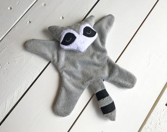 Gray Raccoon Lovie, Calico Face, Minky Baby, Security Blanket, Baby Shower Gift, Baby Boy, Baby Girl, Woodland Nursery, Woodland Baby Shower