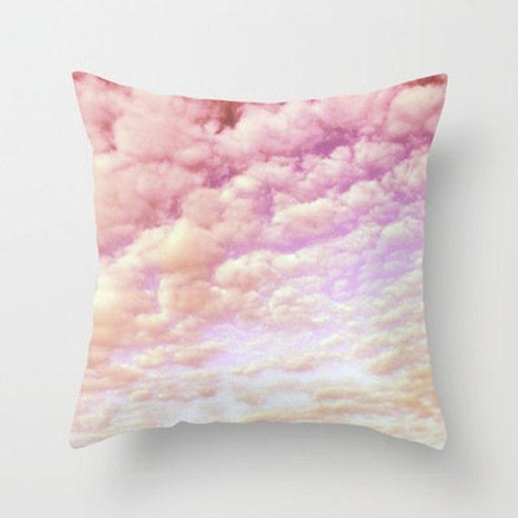 Throw Pillow, Cotton Candy Sky, Decorative Pillow, Dorm, Cushion, nursery pillow, pink, lilac pillow, office, , white, happy, cloud pillow