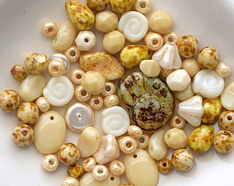 Beige / Taupe Czech Glass Bead Mix - Assorted Shapes, Sizes And Color Shades - 20 Grams