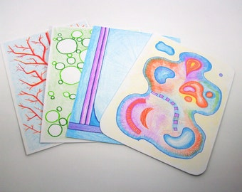 hand-painted, abstract and coloured, front and rear writable, unlaminiert, each card of set of 4 postcards, a unique