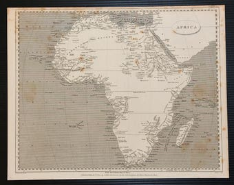 Antique Map of Africa, Continent, 1802 Black and White Engraving by Arrowsmith & Lowry
