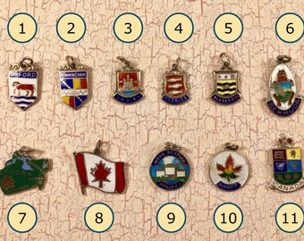 CHOICE of ONE Sterling Silver Enameled England, Scotland, Bermuda and Canada Tourist Charms 1st Half of 20th Century