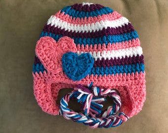 Crocheted earflap hat w/ hearts