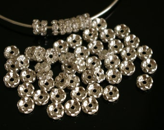 100 - Paparazzi Basketball wives Silver Crystal 8mm wavy rondell beads