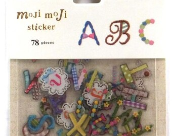 Japan Qlia kawaii Moji Moji EBROIDERY 78pcs sticker flake91436