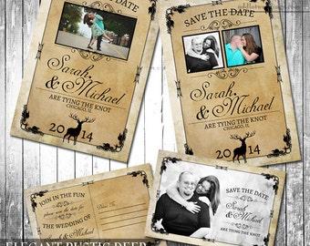 Kraft save the Date, Printable Save the Date, Buck Hunter Wedding, Deer Invite, Digital printable Rustic Wedding, DIY Invitation with Deer