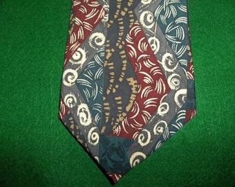 Venanzi Vintage Necktie 1970s Wide Silk Tie Teal Burgundy Gray Tribal Pattern Siklscreen Retro