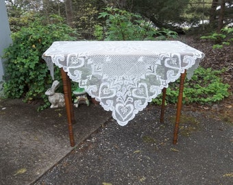 Vintage Ivory Lace Tablecloth Lace Table Cloth 38x38 Lace Overlay Wedding Decorations Table Decor Cottage Decor French Country