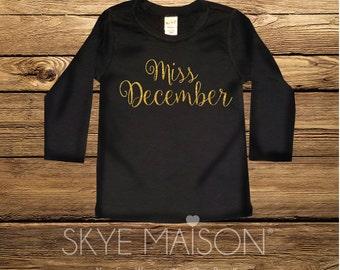 Birthday Month Tshirt. Miss December Birthday. Girls Birthday Tshirt, Hipster Miss December Tshirt, Bday Month tshirt, Girls' Birthday top