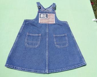 vintage polo jeans company ralph lauren girls denim jumper dress size 4t see measurements american flag