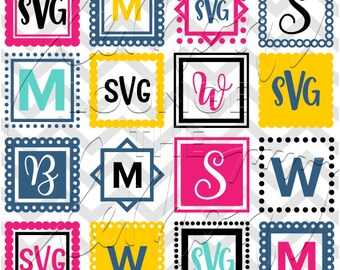 Square Monogram svg, 16 monogram svg, square svg, scallop square monogram svg, monogram cut file, digital cut file, commercial use OK,
