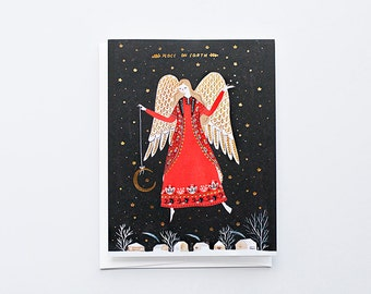 Peace on Earth Card (Angel Holding a Moon on a String)