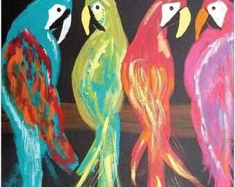 "PARROT-DISE Tropical Parrots Colorful Jungle Coastal Bird Print By Scott D Van Osdol 16x20"" Poster Of My Original Artwork Ready To Frame"