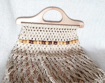 Free Ship. 70s Vintage French Hancrafted Macrame Bag