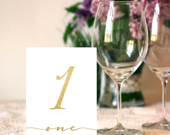 Wedding 1-20 Table Sign 5x7, 4x6 Gold Glitter Calligraphy Table Numbers Sign DIY Wedding Printable Image Digital INSTANT DOWNLOAD 300dpi