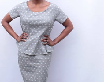 UK size 12-14 grey cotton two piece peplum and pencil skirt coordinates handmade by The Emperor's Old Clothes