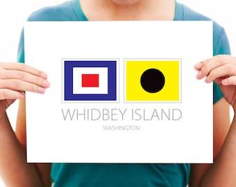Whidbey Island - Washington - Nautical Flag Art Print