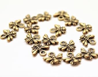 Set of 10 charms, antique bronze bee pendants