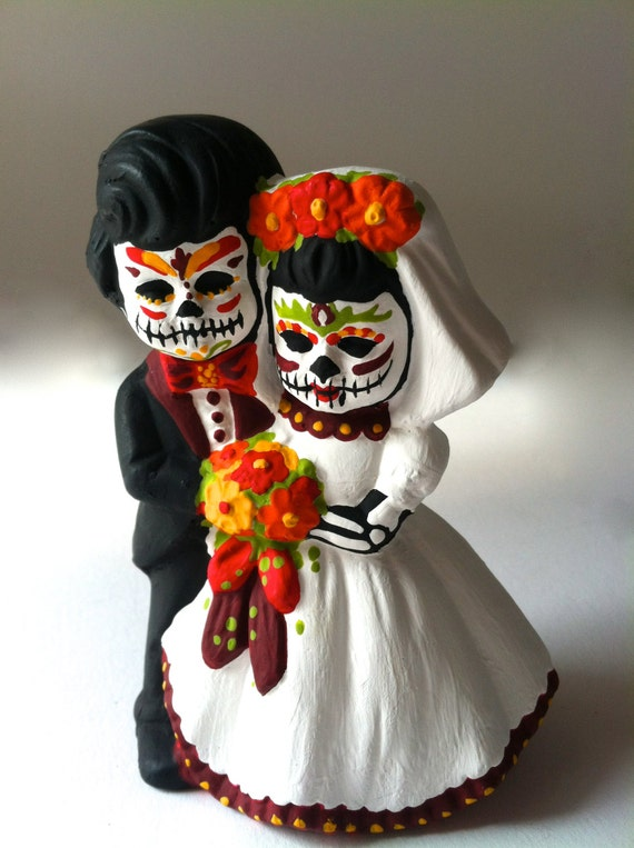 candy skull wedding cake items similar to day of the dead wedding cake topper dia 12352