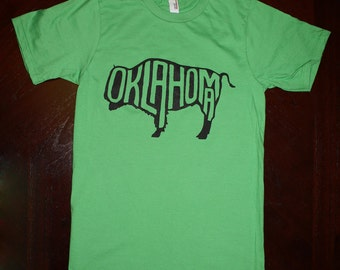 Oklahoma Buffalo T-Shirt - Green (unisex size small)