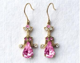 Tamara - Italian Vintage Jewelry, Swarovski Crystal, Fucsia