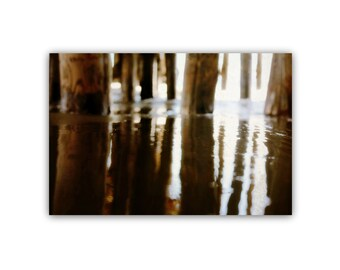 abstract canvas art // modern beach art print // santa cruz art canvas - Under the Wharf, original photograph on canvas