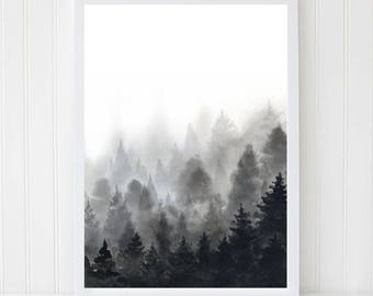 Forest poster. Foggy forest. Watercolor forest. Trees Print. Woodland Art. Black forest. Nature Wall Art. Mountain Print. Black White Poster