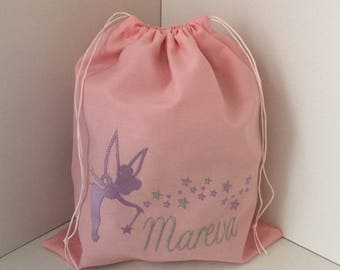 Cotton embroidered personalized name and fairy size 25X30cm