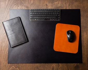 Full Grain Leather Desk Pad Blotter - BLACK / personalize / customize / choose color / brown / monogram / laptop / office / size