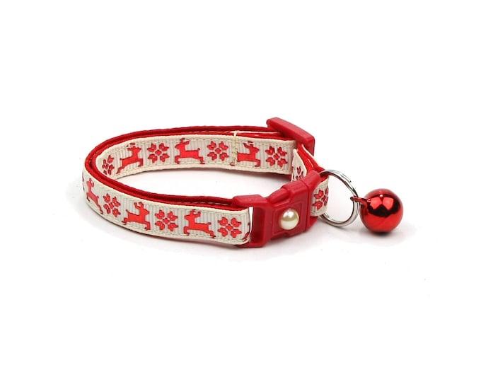 Christmas Cat Collar - Fair Isle Reindeer on Cream - Small Cat / Kitten Size or Large(standard) Size Collar