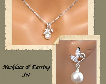 Evangeline Wedding Jewelry Set - Bridal Jewelry Set, Necklace and Earrings Set, Bridesmaids Jewelry Set, Mother of the Bride Groom, Gift Set